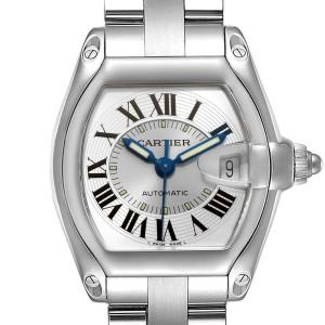 Cartier Roadster Silver Roman Dial Steel Mens Watch