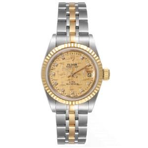 Tudor Princess Date Steel Yellow Gold Champagne Diamond Dial Watch 92413