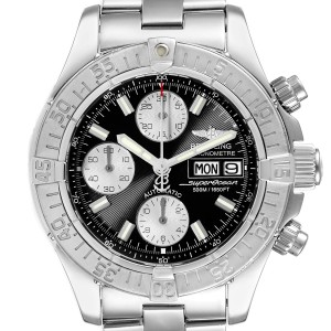 Breitling Aeromarine Superocean Black Dial Mens Watch A13340 Box Papers