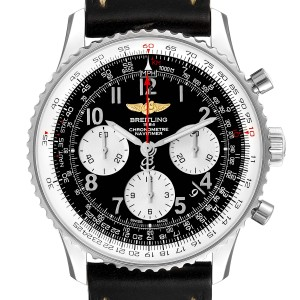 Breitling Navitimer 01 Black Strap Automatic Mens Watch AB0120 Box Papers