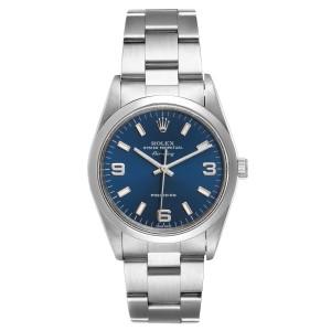 Rolex Air King 34 Blue Baton Dial Domed Bezel Steel Mens Watch 14000
