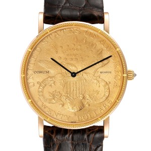 Corum 20 Dollars Double Eagle Yellow Gold Coin Year 1907 Mens Watch