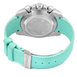Tudor Grantour Turquoise Strap Steel Diamond Ladies Watch 20310 Unworn