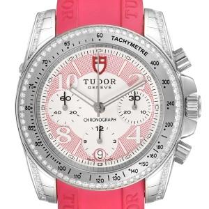 Tudor Grantour Fuchsia Strap Steel Diamond Ladies Watch 20310 Unworn