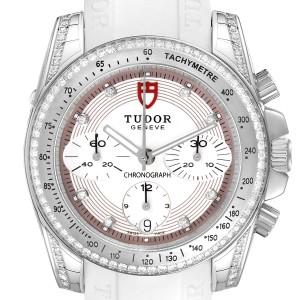 Tudor Grantour White Strap Steel Diamond Ladies Watch 20310 Unworn