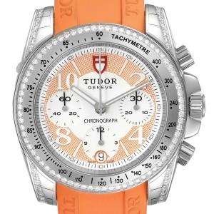 Tudor Grantour Orange Strap Steel Diamond Ladies Watch 20310 Unworn