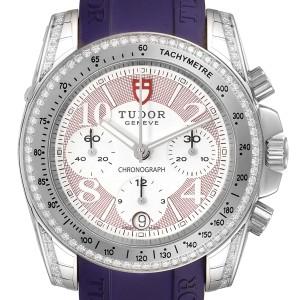 Tudor Grantour Purple Strap Steel Diamond Ladies Watch 20310 Unworn