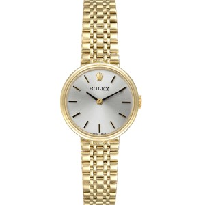 Rolex 14k Yellow Gold Silver Dial Vintage Cocktail Ladies Watch