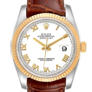 Rolex Datejust Steel Yellow Gold White Dial Mens Watch
