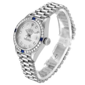 Rolex President Datejust White Gold Diamond Sapphire Ladies Watch 79089