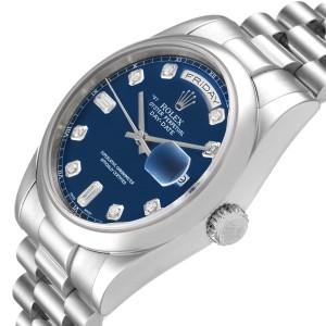 Rolex President Day-Date Platinum Blue Diamond Dial Mens Watch 118206
