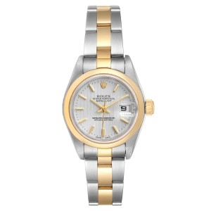 Rolex Datejust Steel Yellow Gold Silver Tapestry Dial Ladies Watch 79163