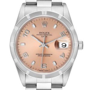 Rolex Date Salmon Dial Oyster Bracelet Steel Mens Watch 15210