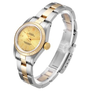 Rolex Oyster Perpetual Fluted Bezel Steel Yellow Gold Ladies Watch 67193