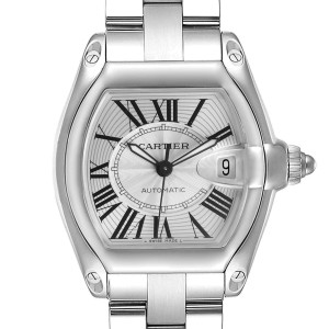 Cartier Roadster Silver Dial Large Steel Mens Watch
