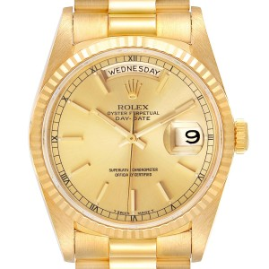 Rolex President Day-Date Yellow Gold Champagne Dial Mens Watch 18238