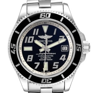 Breitling Superocean 42 Abyss Black Silver Steel Mens Watch
