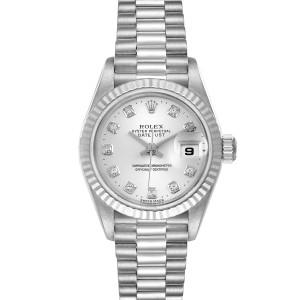 Rolex President 18K White Gold Diamond Ladies Watch 79179