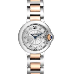 Cartier Ballon Bleu Steel Rose Gold Diamond Ladies Watch WE902030