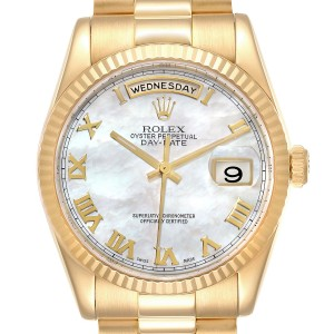 Rolex President Day Date Yellow Gold MOP Dial Mens Watch 118238 Box Papers