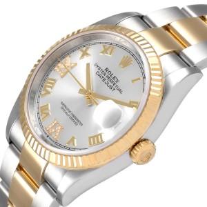 Rolex Datejust Steel Yellow Gold Silver Diamond Dial Mens Watch 126233