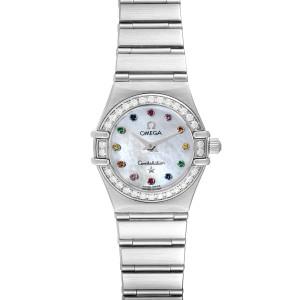 Omega Constellation Iris Steel Multi Stone Ladies Watch