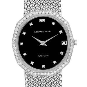 Audemars Piguet White Gold Black Dial Diamond Vintage Mens Watch
