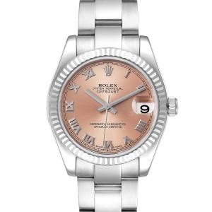 Rolex Datejust Midsize Steel White Gold Salmon Dial Ladies Watch 178274