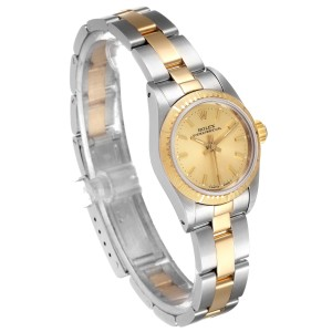 Rolex Oyster Perpetual NonDate Ladies Steel Yellow Gold Watch