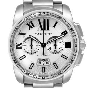 Cartier Calibre Silver Dial Chronograph Mens Watch W7100045