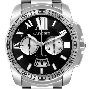 Cartier Calibre Black Dial Cronograph Steel Mens Watch W7100061 Box Papers