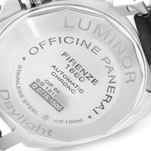 Panerai Luminor Daylight Chronograph Steel Mens Watch PAM00356 Box Papers