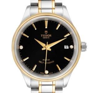 Tudor Style Date Steel Yellow Gold Diamond Ladies Watch