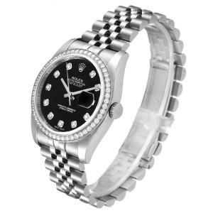 Rolex Datejust 36 Black Diamond Dial Bezel Unisex Watch