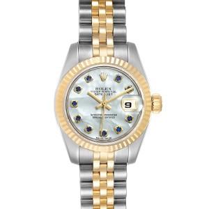 Rolex Datejust Steel Yellow Gold MOP Saphire Ladies Watch