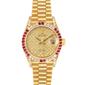 Rolex President 26 Yellow Gold Pave Diamond Ruby Ladies Watch