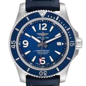 Breitling Superocean II Blue Dial Steel Mens Watch A17365 Box Card