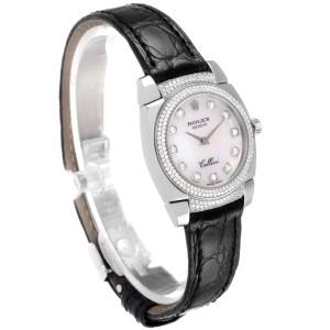 Rolex Cellini Cestello White Gold MOP Diamond Ladies Watch