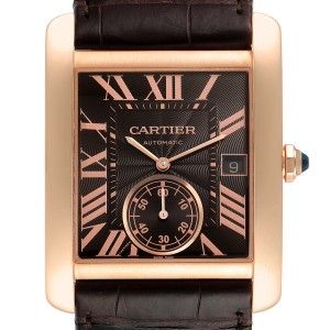 Cartier Tank MC Rose Gold Brown Dial Brown Strap Mens Watch