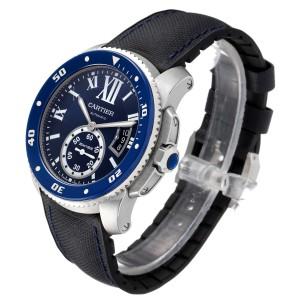 Cartier Calibre Diver Blue Dial Steel Mens Watch