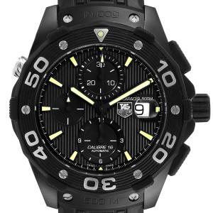 Tag Heuer Aquaracer Calibre 16 Chrono Titanium PVD Watch CAJ2180 Box Card