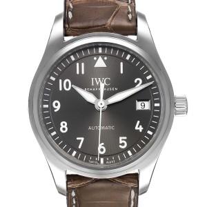 IWC Pilot Slate Dial Brown Strap Steel Unisex Watch IW324001