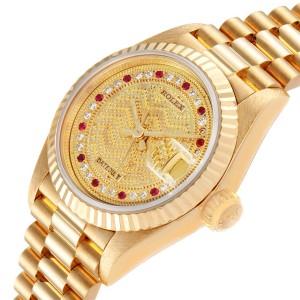 Rolex President Datejust Yellow Gold Diamond Rubies Ladies Watch