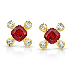 18K Yellow Gold 1.08ct. Ruby 0.21ctw. Diamond Earrings