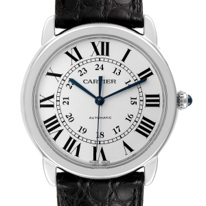 Cartier Ronde Solo Silver Dial Black Strap Automatic Mens Watch