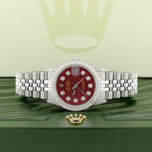Rolex Datejust Midsize 31MM Automatic Stainless Steel Women's Watch w/Red Dial & Diamond Bezel