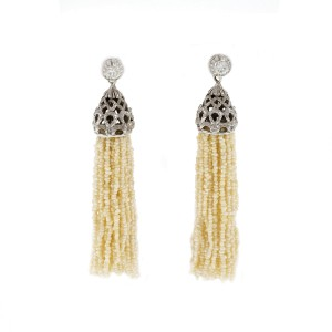 14K White Gold Diamonds & Seed Pearl Tassel Dangle Earrings