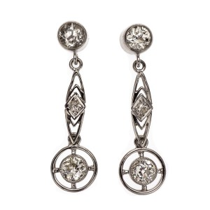 Art Deco Old European Diamond Dangle Earrings Platinum 1920