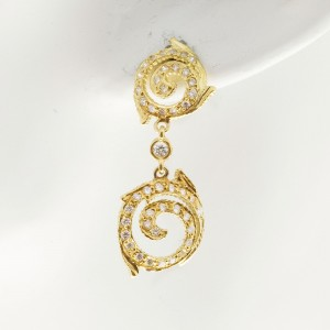 Doris Panos 18K Yellow Gold & 0.90ct Diamond Swirl Dangle Earrings