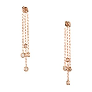 Peter Suchy Vintage 14K Rose Gold with 2.29ct Pink Brown Diamond Dangle Earrings
